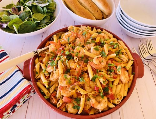 Creamy Tomato Shrimp & Sweet Pepper Penne – Recipe!