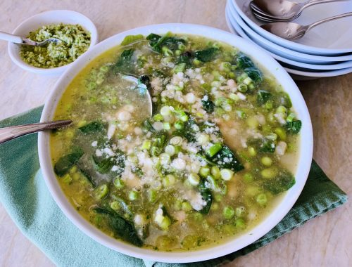Green Minestrone with Spring Onion & Parsley Pesto – Recipe!