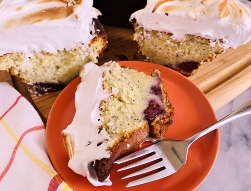 Lemon Blackberry Poppy Seed Cake with Swiss Meringue – Recipe!