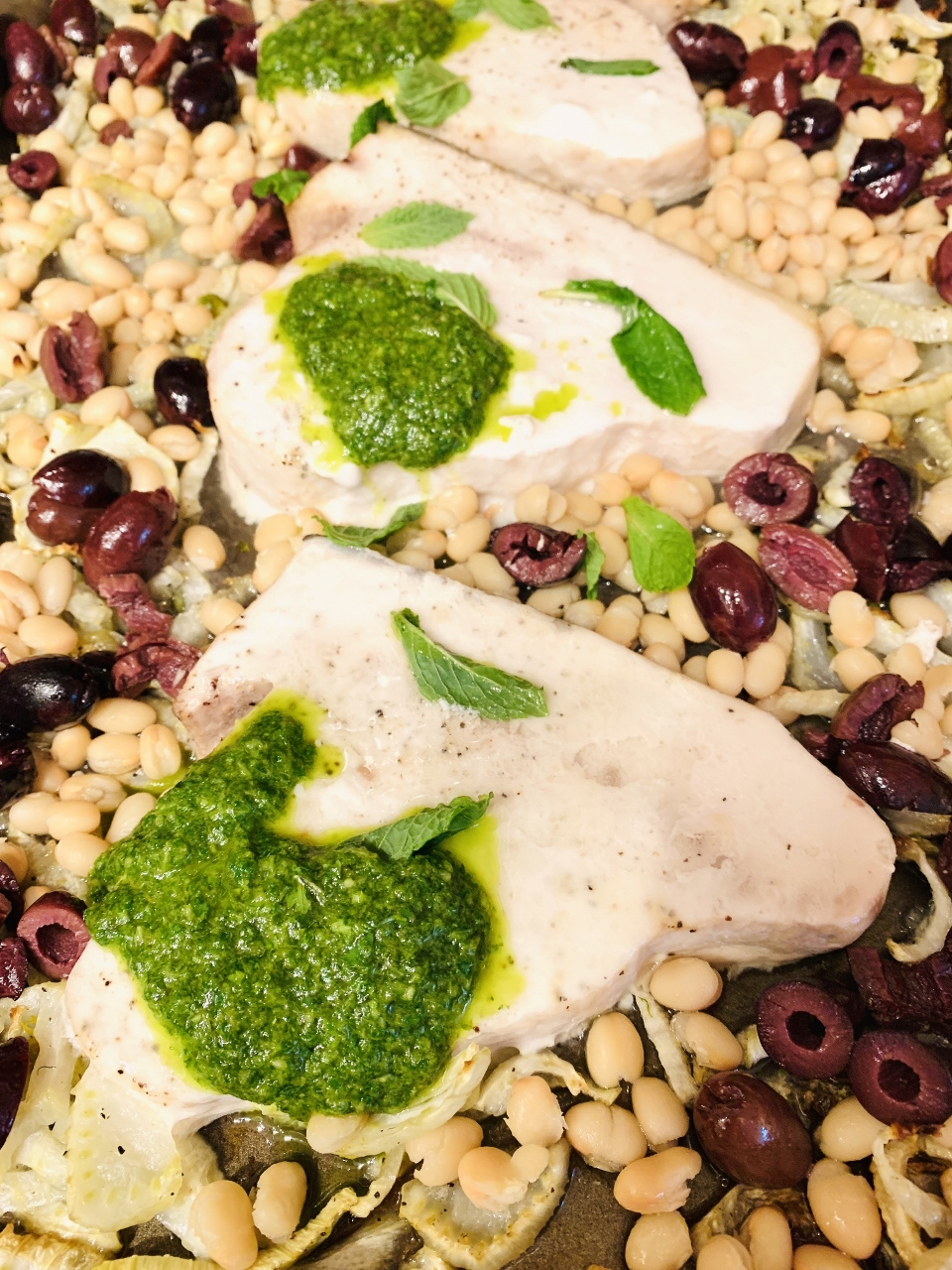 Herby Roasted Swordfish with Fennel, White Beans & Olives – Recipe! Image 1