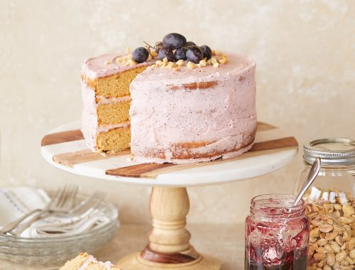 Peanut Butter Cake with Grape Buttercream – Recipe!