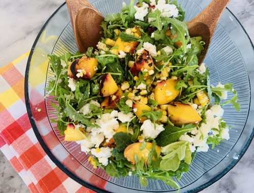 Grilled Peach & Sweet Corn Salad – Recipe!