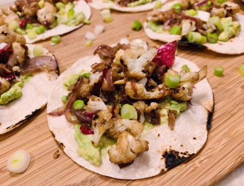Cauliflower & Caramelized Onion Tacos with Avocado Mash – Recipe!