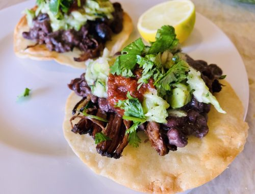 Beef & Black Bean Tostadas with Zucchini Relish – Recipe!