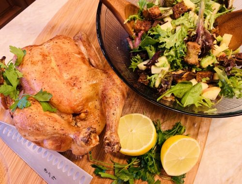 Roast Chicken with Crispy Crouton Salad – Recipe!