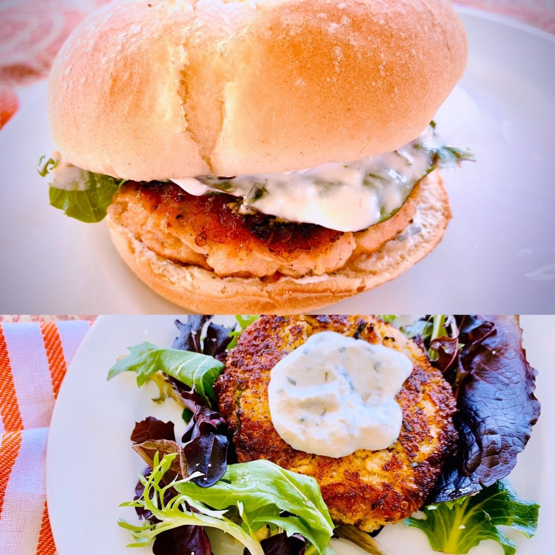 Salmon Quinoa Burgers with Creamy Horseradish Spread – Recipe! Image 1