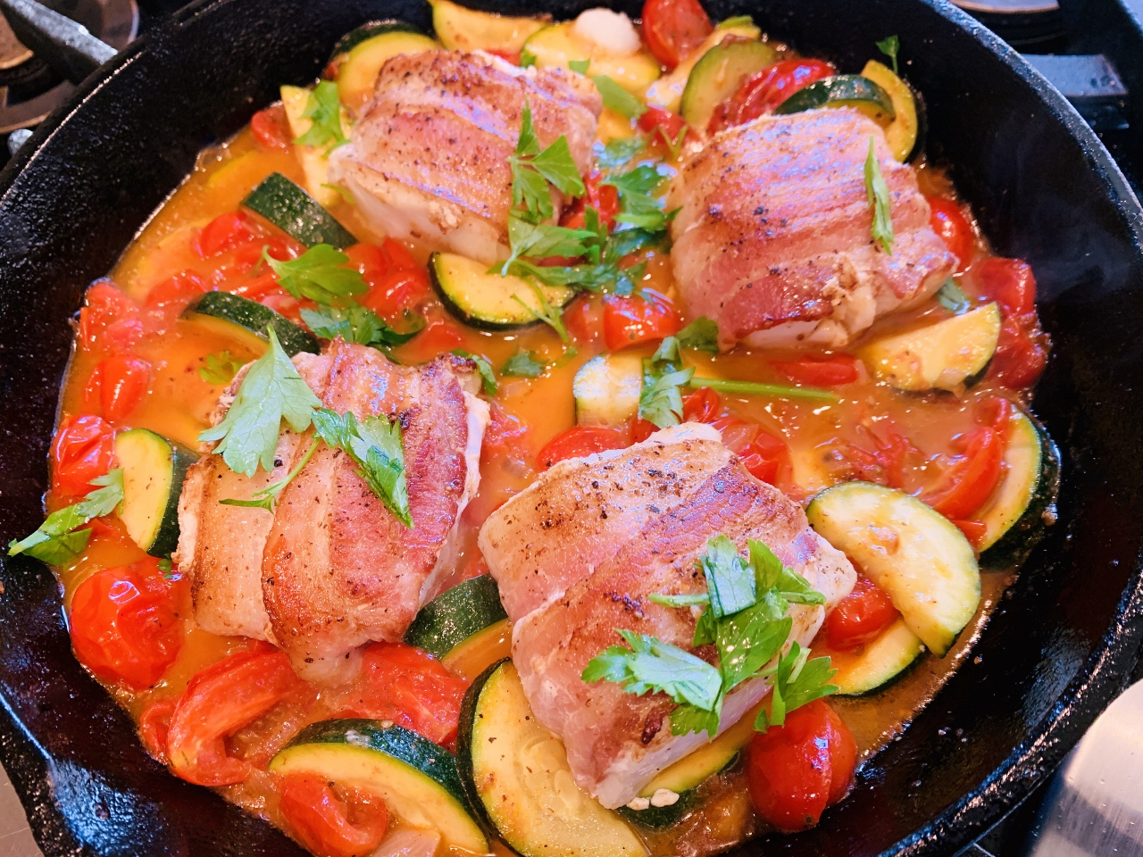 Skillet Bacon-Wrapped Cod with Zucchini & Tomatoes – Recipe! Image 2