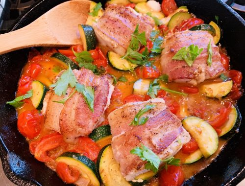 Skillet Bacon-Wrapped Cod with Zucchini & Tomatoes – Recipe!