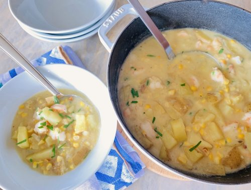 Dairy-Free Sweet Corn & Shrimp Chowder – Recipe!