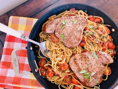 Tuna, Charred Cherry Tomato & Bacon Spaghetti – Recipe!