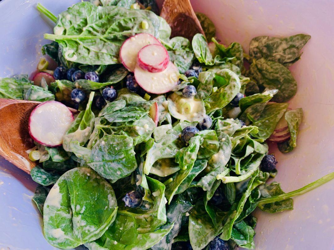 Blueberry, Radish & Spinach Salad with Creamy Vinaigrette – Recipe! Image 1