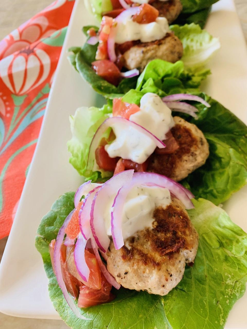 Greek Mini Turkey Burger Lettuce Wraps – Recipe! Image 1