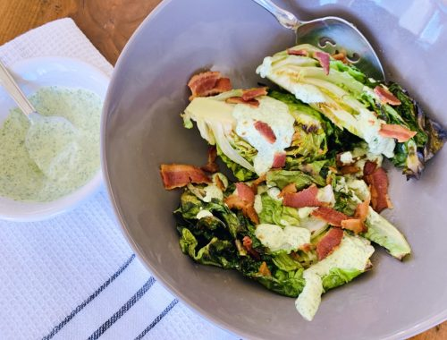 Grilled Gem Lettuce Salad with Green Goddess & Bacon – Recipe!!