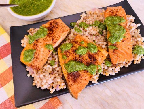 Seared Salmon with Israeli Couscous & Gremolata – Recipe!