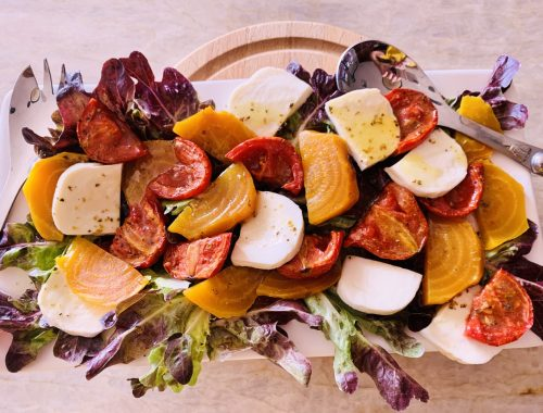 Slow Roasted Tomato & Golden Beet Salad – Recipe!