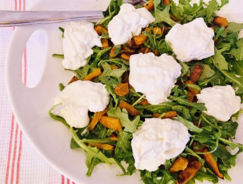 Roasted Butternut Squash & Arugula Salad with Burrata – Recipe!