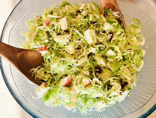 Shaved Brussels Sprouts Salad with Apples, Dried Cranberries & Pecorino – Recipe!