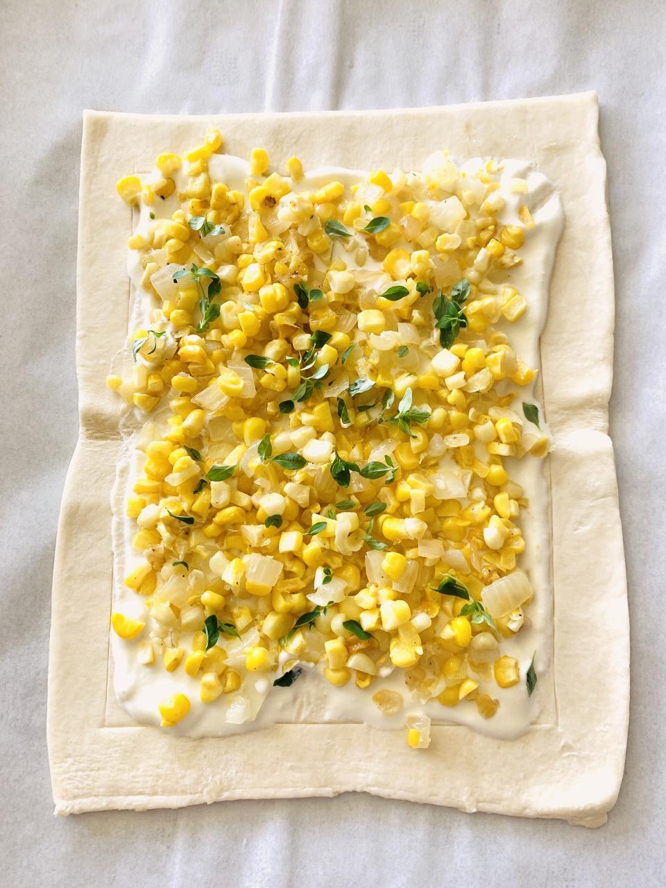 Sweet Corn, Ricotta & Cherry Tomato Puff Pastry Tart – Recipe! Image 3
