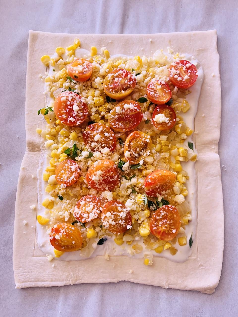Sweet Corn, Ricotta & Cherry Tomato Puff Pastry Tart – Recipe! Image 4