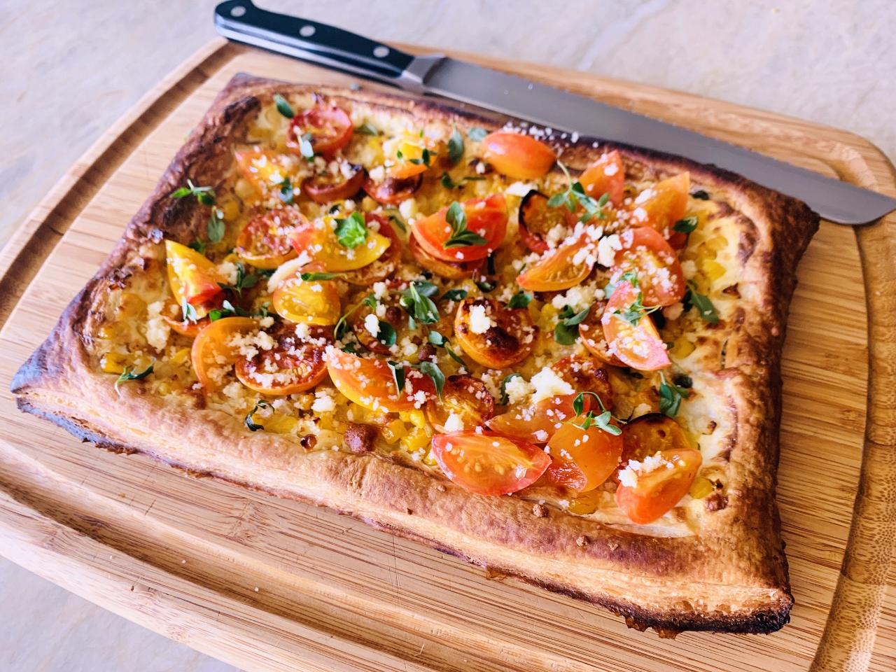 Sweet Corn, Ricotta & Cherry Tomato Puff Pastry Tart – Recipe! Image 5