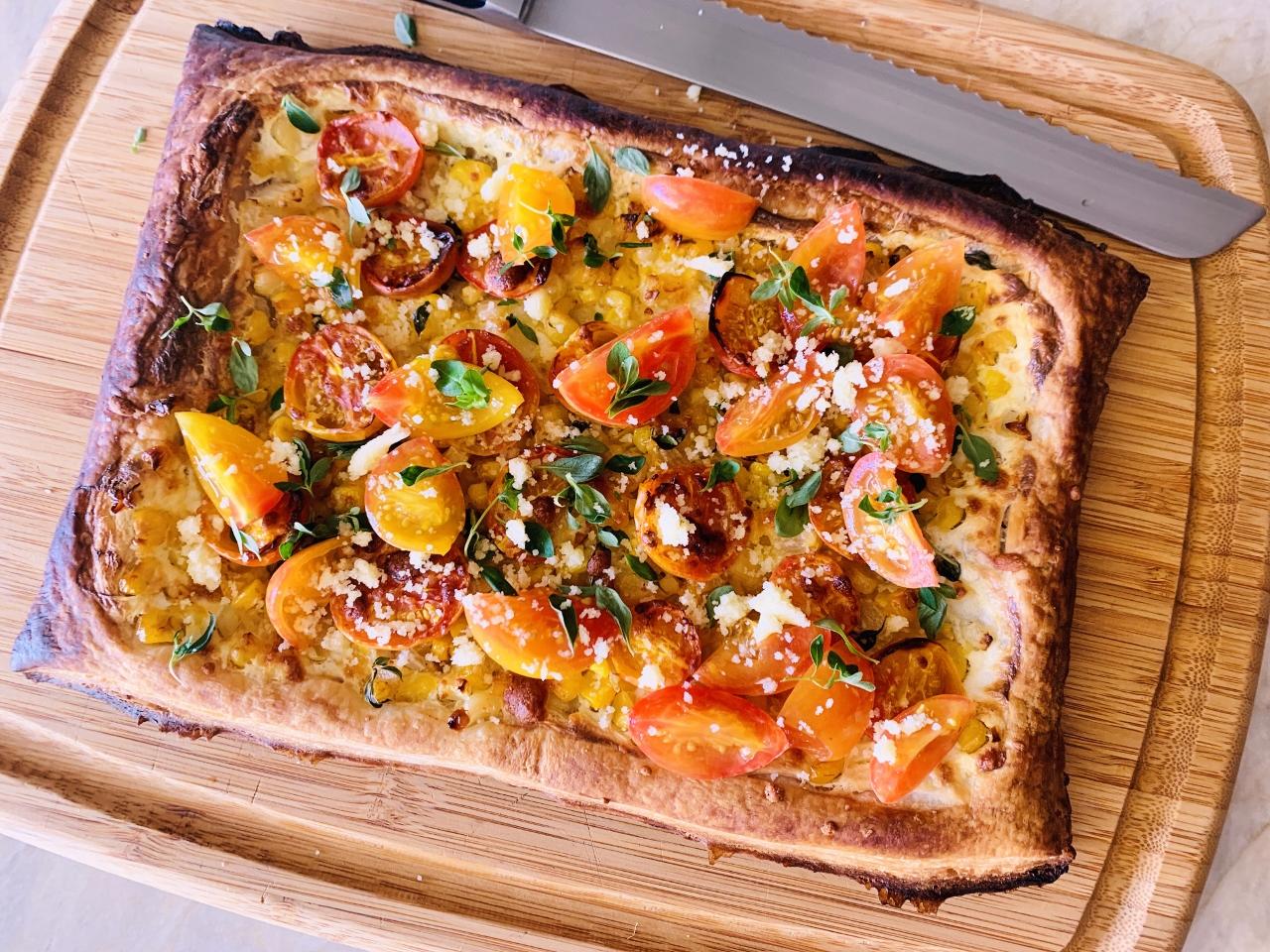 Sweet Corn, Ricotta & Cherry Tomato Puff Pastry Tart – Recipe! Image 2
