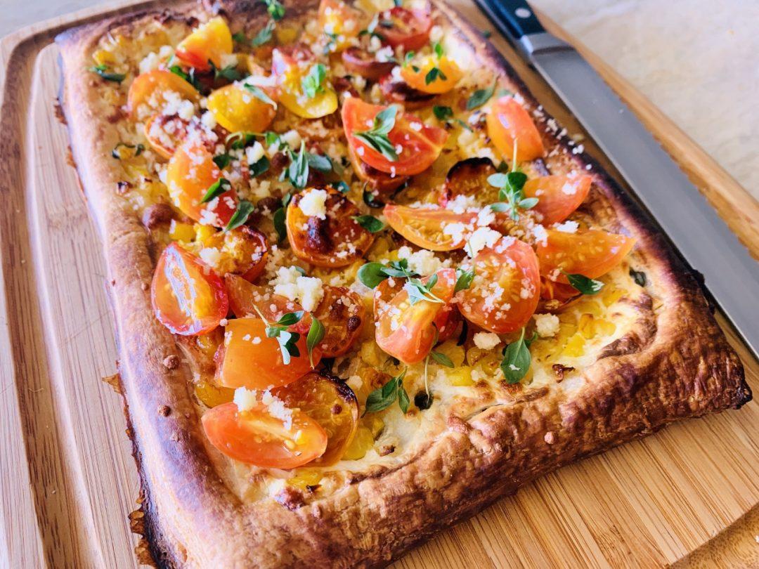 Sweet Corn, Ricotta & Cherry Tomato Puff Pastry Tart – Recipe! Image 1