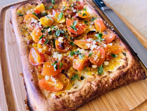 Sweet Corn, Ricotta & Cherry Tomato Puff Pastry Tart – Recipe!