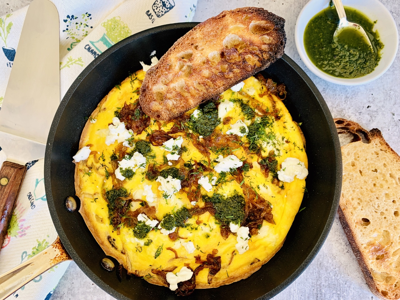 Herby Caramelized Onion & Goat Cheese Frittata – Recipe! Image 2
