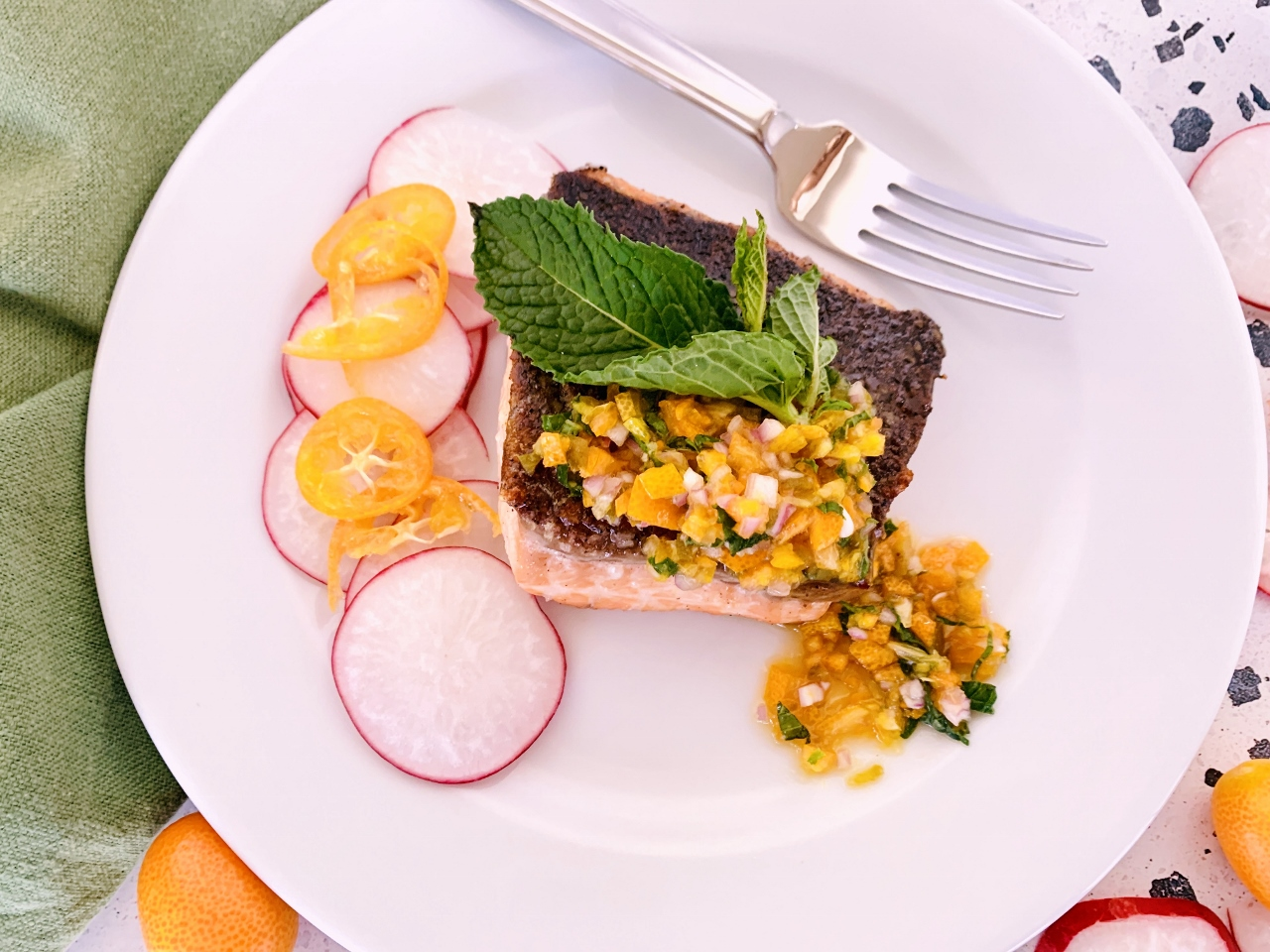 Crispy Skinned Salmon with Agrodolce Kumquat Compote – Recipe! Image 2