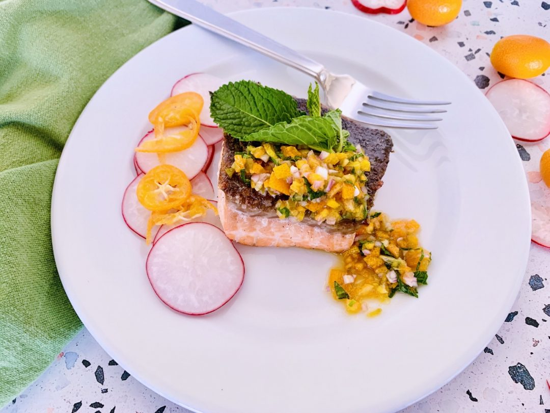 Crispy Skinned Salmon with Agrodolce Kumquat Compote – Recipe! Image 1