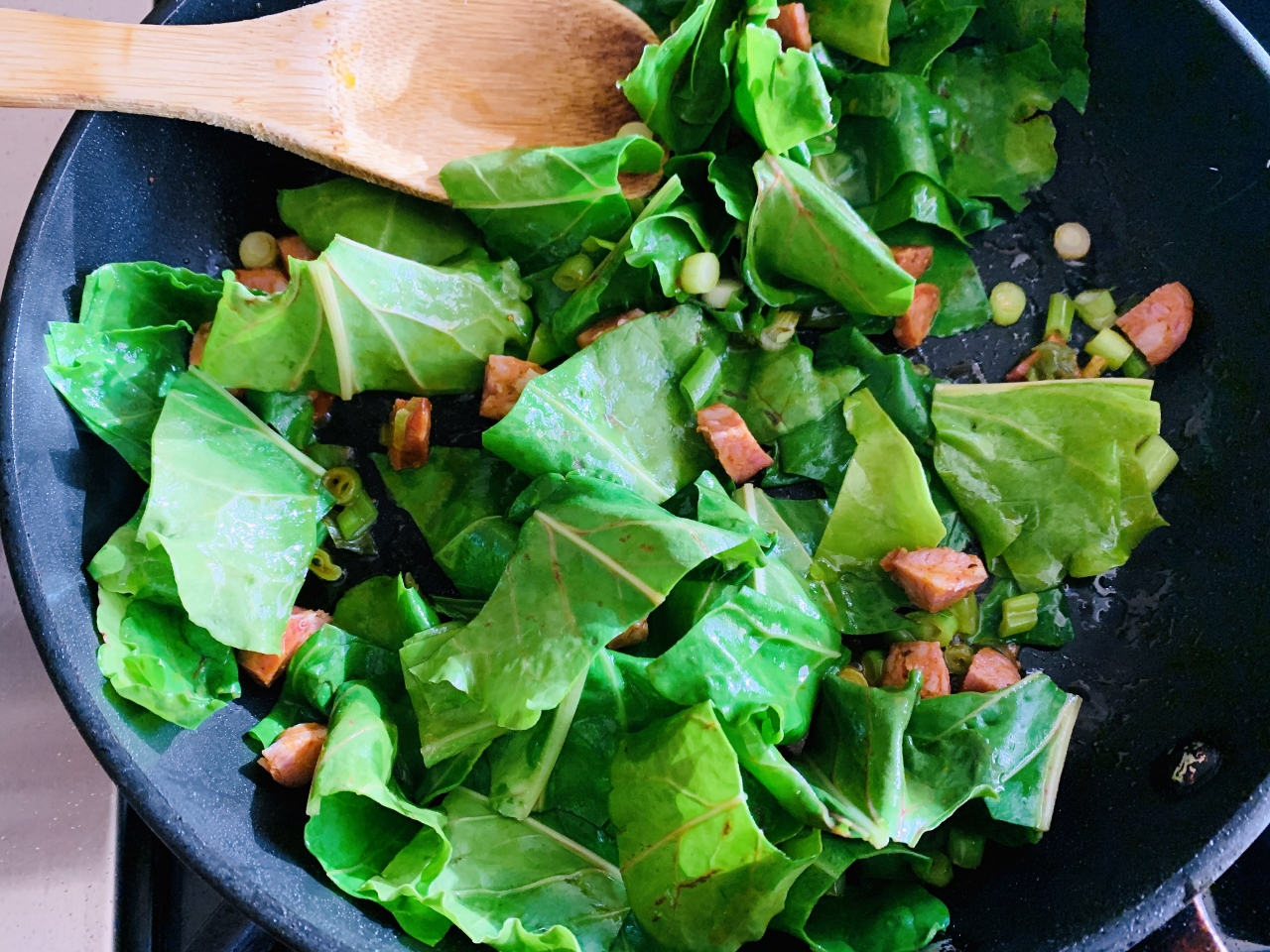 Seared Salmon Salad with Warm Escarole & Andouille Vinaigrette – Recipe! Image 5