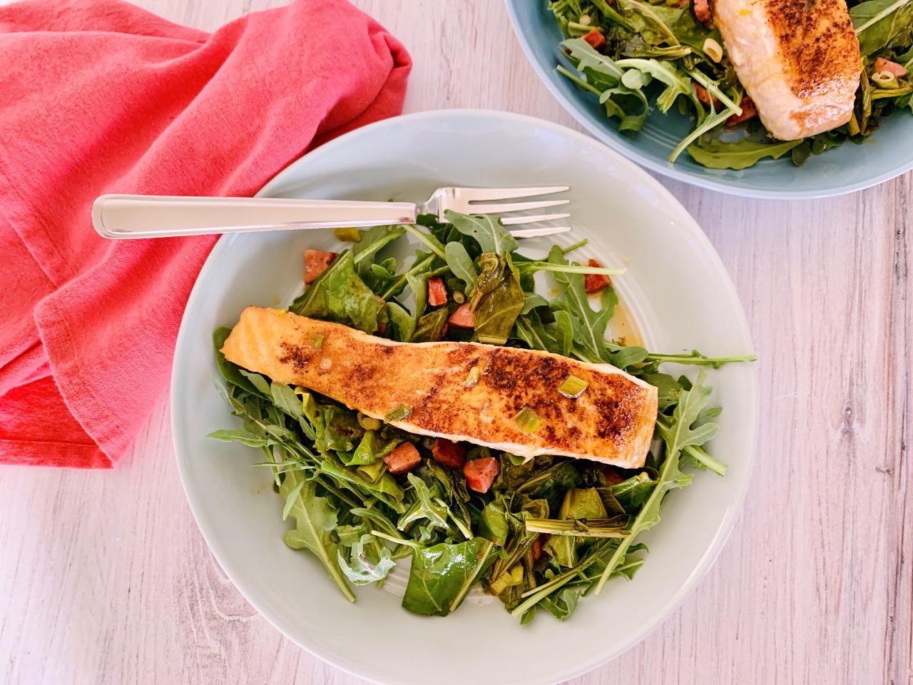 Seared Salmon Salad with Warm Escarole & Andouille Vinaigrette – Recipe! Image 2