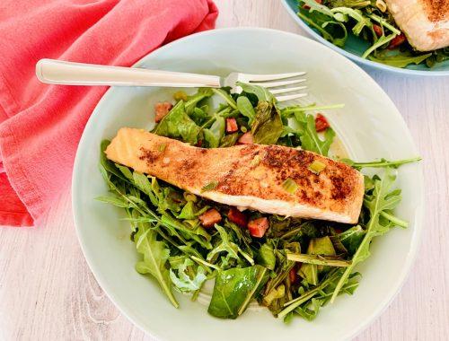 Seared Salmon Salad with Warm Escarole & Andouille Vinaigrette – Recipe!