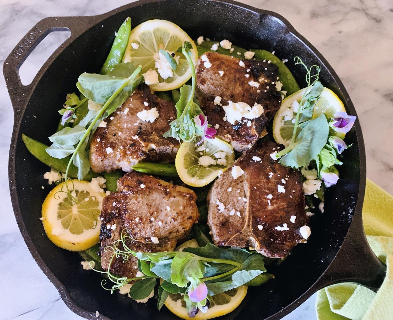 Skillet Lamb Chops with Sugar Snap Peas, Pea Shoots, Lemon & Feta – Recipe! Image 2