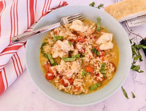 Cherry Tomato & Basil Risotto with Shrimp – Recipe!