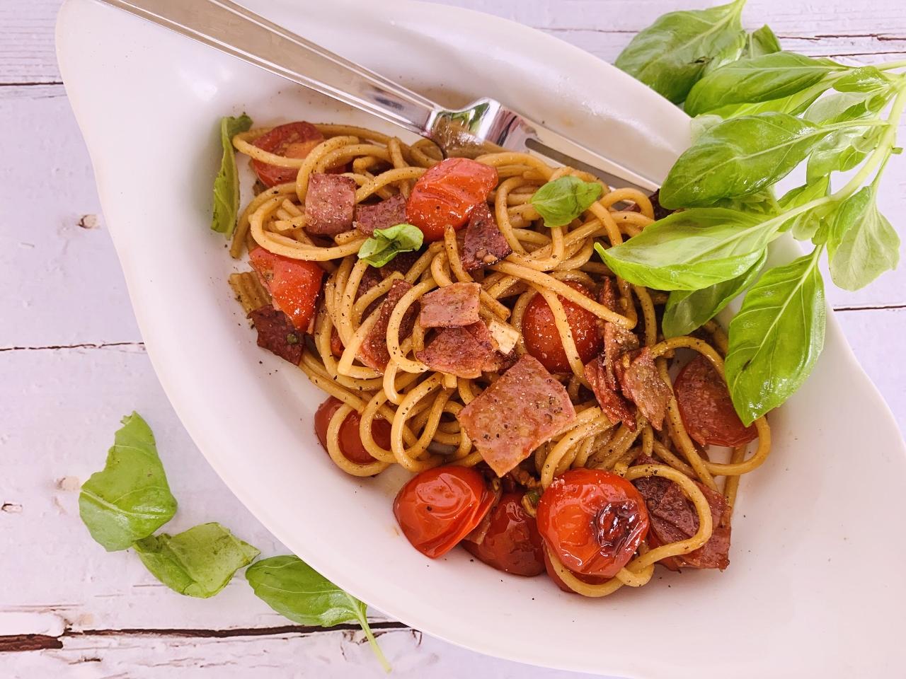 10-Minute Charred Cherry Tomato & Salami Spaghetti – Recipe! Image 2