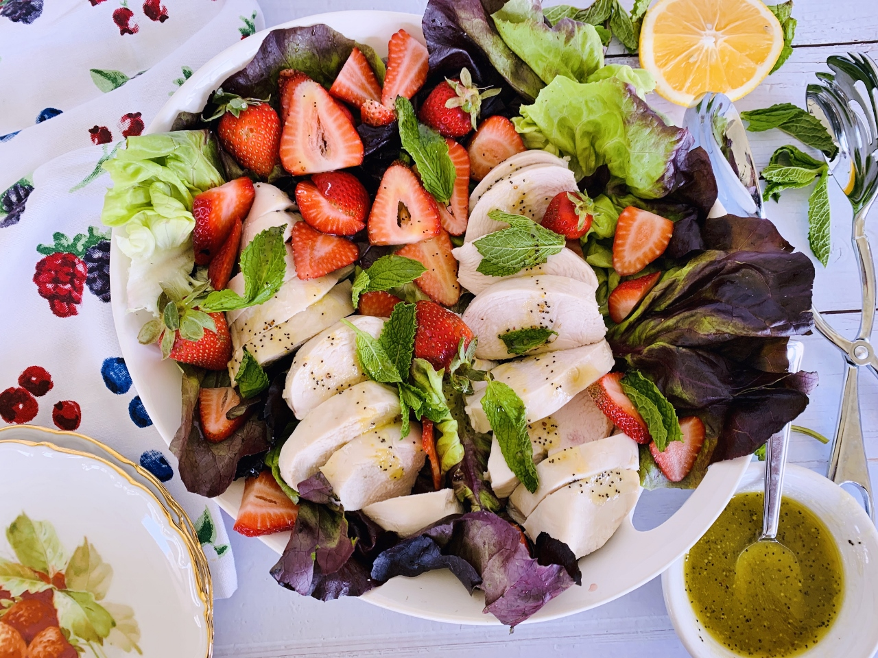 Poached Chicken Salad with Strawberries & Honey Poppy Seed Vinaigrette – Recipe! Image 2