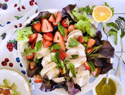 Poached Chicken Salad with Strawberries & Honey Poppy Seed Vinaigrette – Recipe!