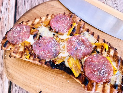 Grilled Flatbread with Truffle Cheese, Roasted Sweet Peppers & Salami – Recipe!