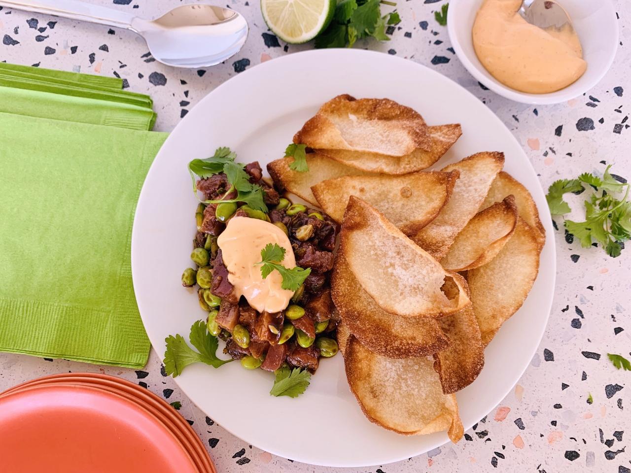 Tuna & Edamame Tartar with Crispy Wontons and Sriracha Mayo – Recipe! Image 2