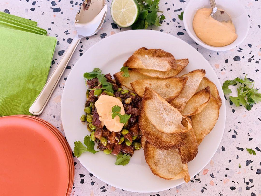 Tuna & Edamame Tartar with Crispy Wontons and Sriracha Mayo – Recipe! Image 1