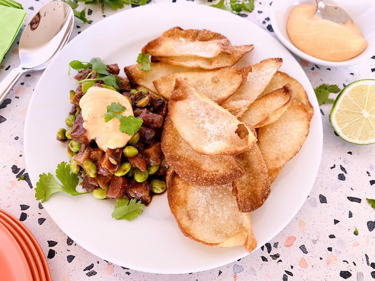 Tuna & Edamame Tartar with Crispy Wontons and Sriracha Mayo – Recipe! Image 5