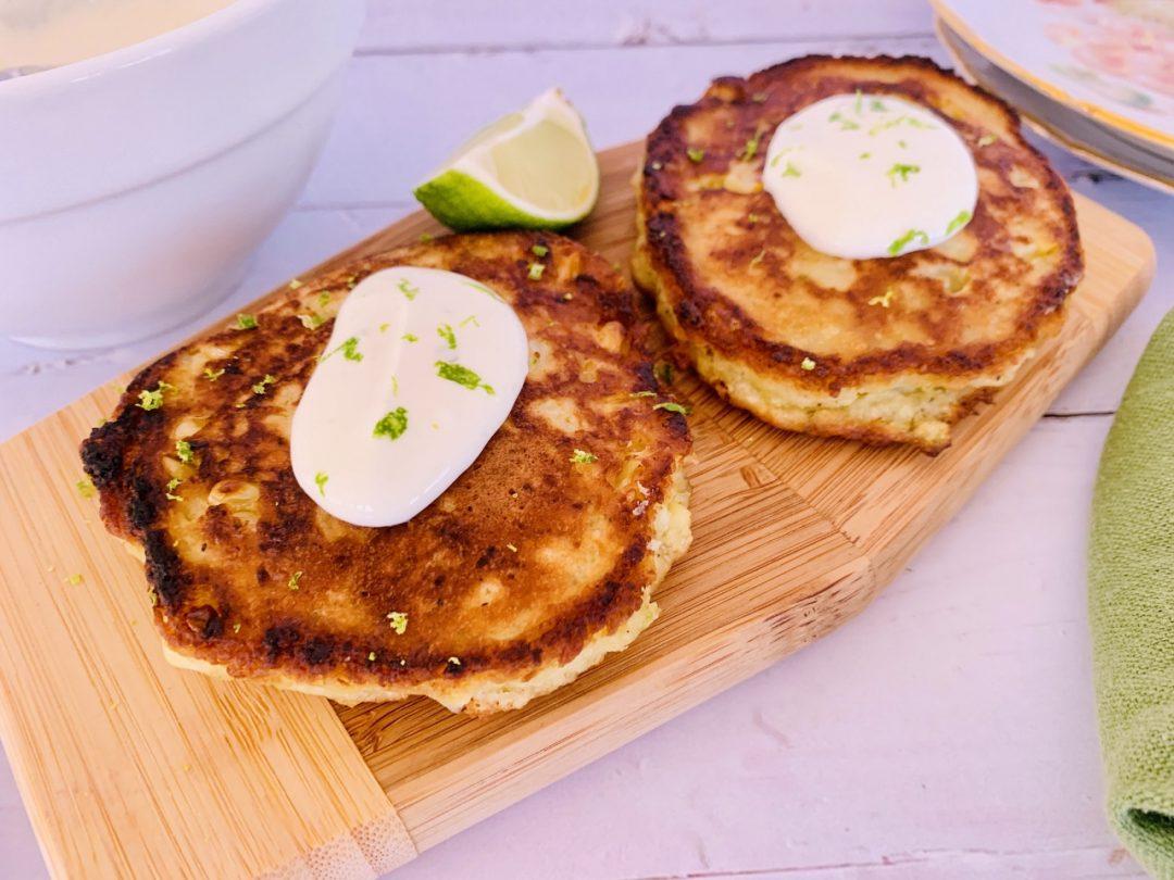 Crispy Corn Cakes with Lime Crema – Recipe! Image 1