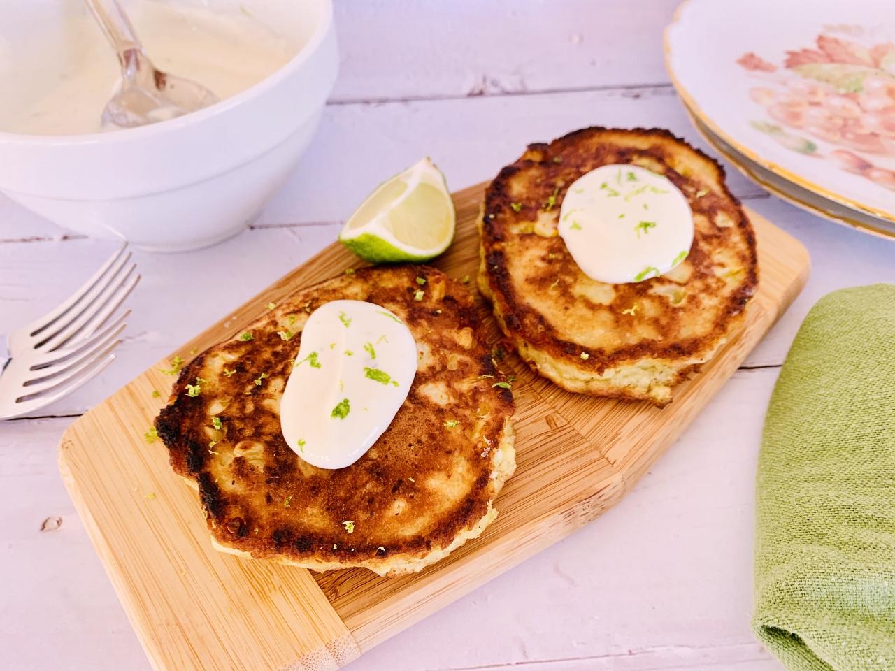 Crispy Corn Cakes with Lime Crema – Recipe! Image 2