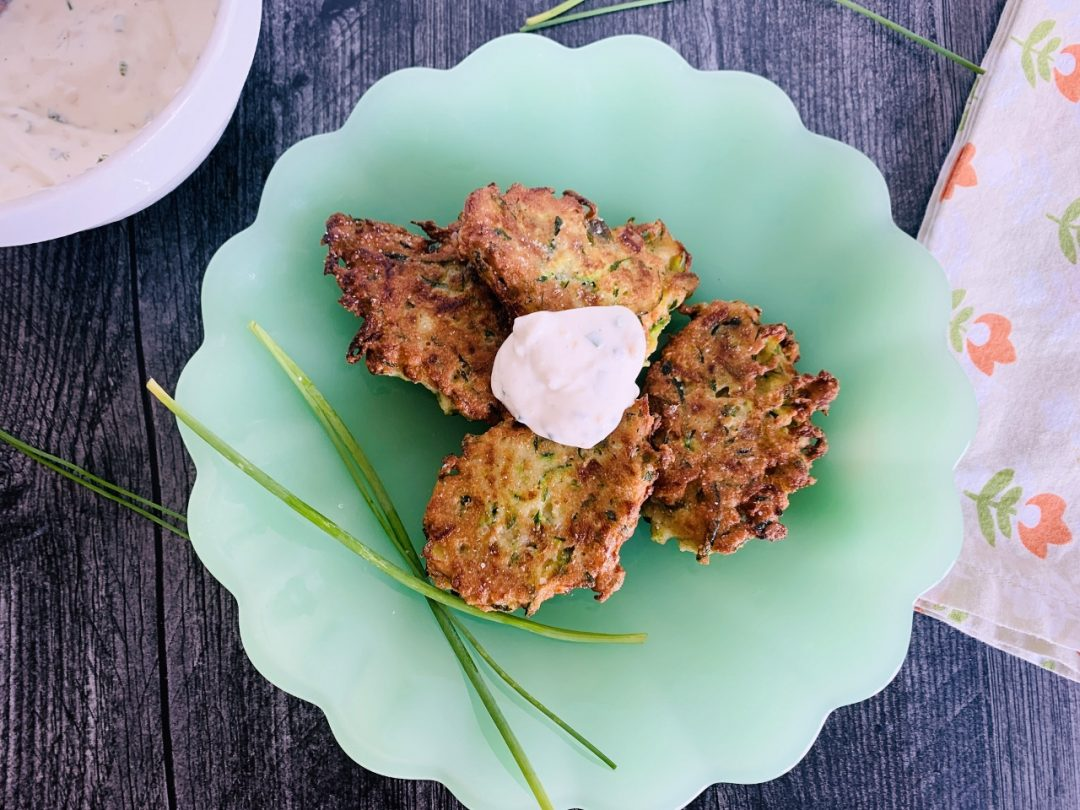 Gluten-Free Zucchini Fritters with Chive Sour Cream – Recipe! Image 1