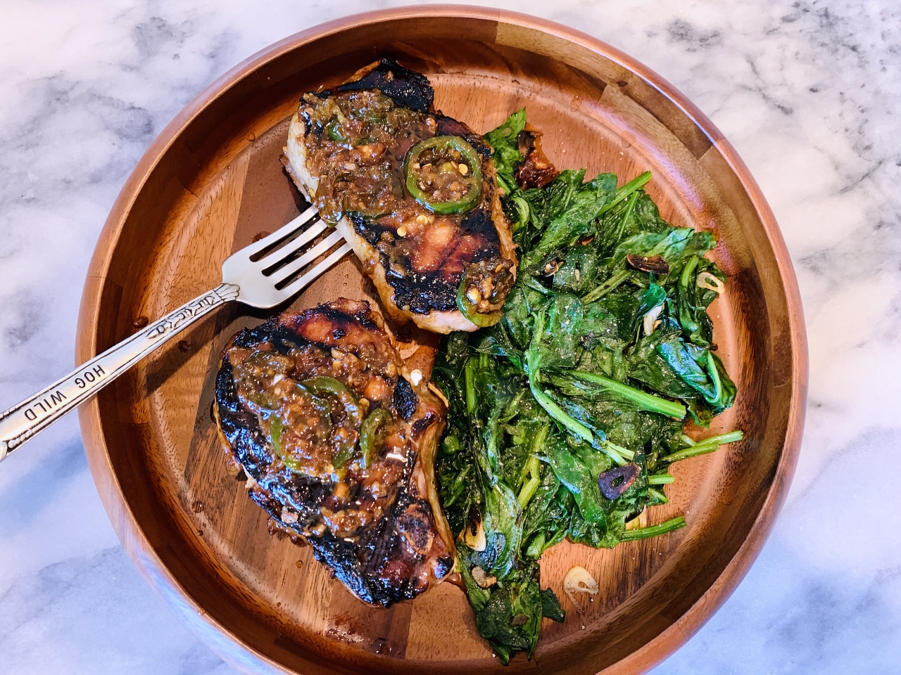 Grilled Marinated & Sauced Pork Chops with Garlicky Spinach – Recipe! Image 2