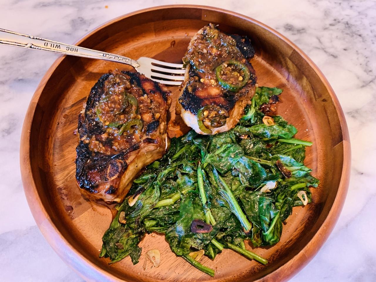Grilled Marinated & Sauced Pork Chops with Garlicky Spinach – Recipe! Image 5