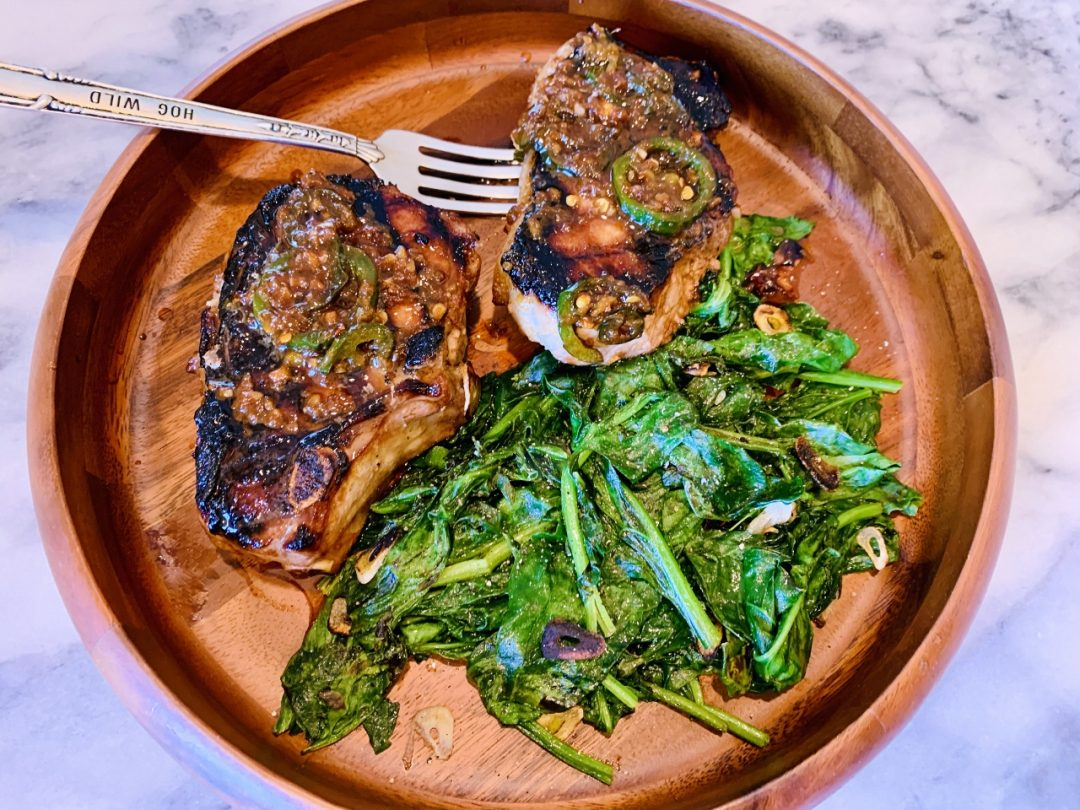 Grilled Marinated & Sauced Pork Chops with Garlicky Spinach – Recipe! Image 1