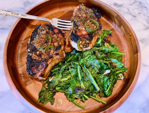Grilled Marinated & Sauced Pork Chops with Garlicky Spinach – Recipe!