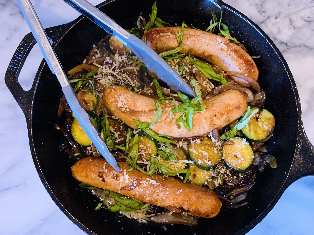 Skillet Chicken Sausages, Onions, Zucchini & Basil – Recipe! Image 2